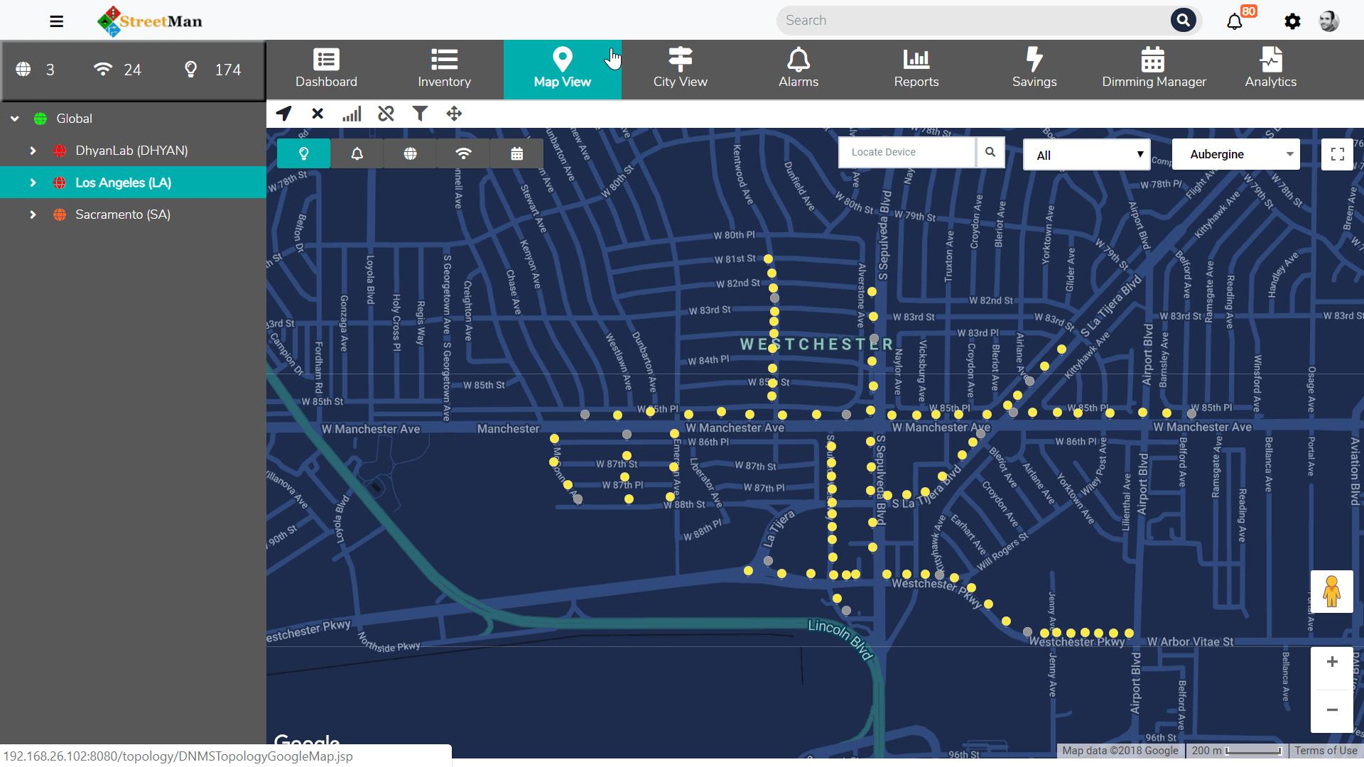 Streetlight Management Software faults module